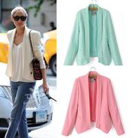 Candy color Cardigan blazer women mulheres 2014 new autumn casual blazer feminino Blazers free shipping