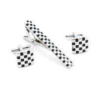 Men's Tie Clip Cufflinks set Man French Black Square Tie clips Cuff links 2014 Man Fashion Zinc Alloy Shirt Clip Cuff link Gift