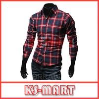 Free Shipping 2014 New Fashion Casual Grid long-sleeved mens shirts, Fashion Leisure styles slim fit dress shirt KM1127