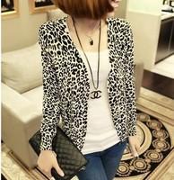 2014 Spring New Fashion Women Leopard Cardigan Women Full Sleeve Print Knitwear Blouse Sweater Outerwear Pullover Casaquinho