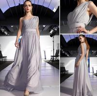 Fashionable High-Quality One Shoulder  Long evening dress Gray Chiffon vestidos de fiesta celebrity dresses prom dresses E76