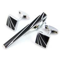 Tie Clip & Cufflinks Set Men French Black Square Tie clips Cuff links Man Fashion Zinc Alloy Shirt Clip Cuff link Gift