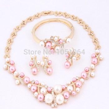 Мода классический свадебные костюм имитация жемчужное ожерелье комплект 18 К позолоченные ...