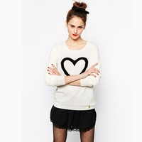 Free Shipping 2014 New Autumn Cute Heart Pattern Print White /Red Long Sleeve Plus Size Ladies Thin Wool Women Sweaters 141M013