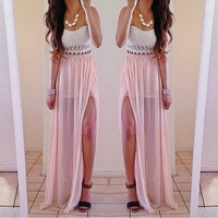High Split Asymmetrical Draped Long Skirt Bandage Summer New 2014 Vintage Party Women's beach Maxi Skirt