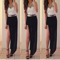 Exclusive!!!Summer 2014 Fashion Skirts Women Bohemian Chiffon Beach Long Maxi Skirts Black Free Shipping
