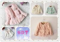 Retail Girls faux fox fur collar coat clothing Autumn Winter wear flower Clothes baby Children outerwear jacket