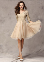 Free Shipping Hot Sale Wholesale2014 Hitz European And American Women's Chiffon Dress Slim Sleeve Lace Dress D01
