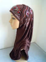 m2038 solid color with inner cap two pieces muslim hijab free shipping