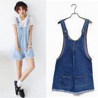 2014 Summer Newest Spaghetti Strap Denim Jumpsuit Women All-match Pockets Hot Shorts Korean Loose Sweet Overalls 1459