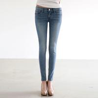 2014 Autumn Fashion Slim Pencil Pants Korean Washed Zipper Fly Jeans Vintage Style Pockets Denim Women Pants 1216