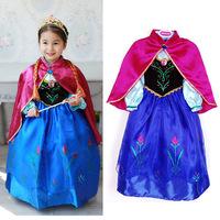 Frozen Dress Girl Cute Princess Long Sleeve Fashion Blue Dress 2014 For Spring