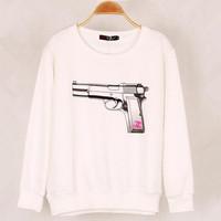 Hot sale Autumn Winter Sexy Hoodies For Women Harajuku 3D Pistol Printing Plus Size Women's pullover Sweatshirts Sport Coat 8905