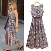 Europe station 2014 summer new bohemian print dress elastic waist sleeveless dress