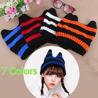 New Arrival 2014 Women's Hats Stripes Demons Ears Crochet Fashion Beanie Hat Hip-Hop Knitted Caps Warm Women Beanies Wool Cap