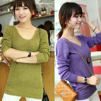7 Color 2014 Autumn Women Elegant V neck Pocket Long Sleeve Sweater andpullover Shirt Short Desigual Loose Casual Cardigan nz192