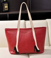The new high-heeled shoes decorated casual shopping big hit color shoulder bag hand handbag tide