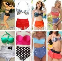 new 2014 XXL Drop Ship Dot RETRO print bikinis set Vintage High Waist Bikini swimsuit Ladies' swimwears bathing suits for women