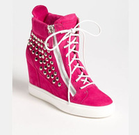 new fashion suede lace-up wedge shoes for woman 2014 gold rivets high top sneakers height increasing woman sneakers