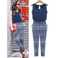 European leg jumpsuit 2014 summer new fashion exquisite printing stitching Slim piece pants