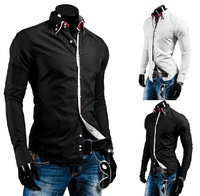 New autumn in Europe and America Fan double collar men hit the color long-sleeved shirt Slim