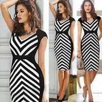 2014 New Fashion Women Elengant Empire Vintage Striped Sliming Patchwork Sexy V neck Bodycon Pencil Party Dress Plus Size S-XL