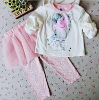 2014 Children cotton Clothing 3pcs Baby Tutu dress spring/Summer/autumn wear kids Girls Peppa Pig Set Tshirt+Skirt+leggings pink