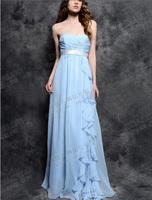 Fashionable Chiffon Blue Long evening dress party evening elegant Tube Top vestidos de festa robe de soiree 2014 prom dress E80