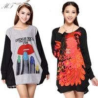 Hot Sale! Autumn Winter Plus Size Women Long Sleeve Frozen Dresses Women's Warm Fleece Printed Short Dress