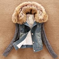 New 2014 Women's Spring Autumn Short Denim Jacket Women Winter Slim yYarn Large Fur Collar Lamb Cotton Denim Outerwear Jeans E72