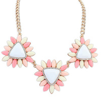 CTT Wholesale 2014 Good Quality Sale New Fashion Jewelry Three Colors Flower Exaggerated Alloy Statement Necklaces & Pendants