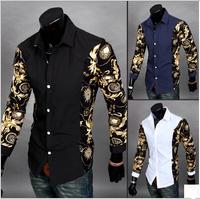 3 Colors M-2XL 2014 Top Brands Men Shirt Korean Stylish Printed Floral Patchwork Men's Cotton Long Sleeve Man Shirts Slim AX705