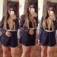 2014 Women hollow out sexy black lace long sleeve jumpsuit ladies macacao feminino vestidos overalls Free Shipping