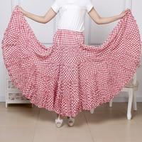 2014 summer cotton plaid skirt wholesale bohemia half-length women full length two way wear dance gypsy long pleated maxi skirts