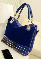 Free Shipping 2014 New Fashion Women Black Blue Rivet Velvet shoulder bag Lady Pu leather  Rhhinestone Stud Fringed Tote handbag