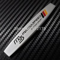 Car Trunk Chrome Badge Emblem Side Sticker Metal MS MAZDASPEED Silver