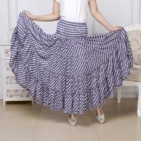 2014 summer cotton plaid waisted maxi dance skirt bohemian women full length two way wear dance gypsy long pleated maxi skirts