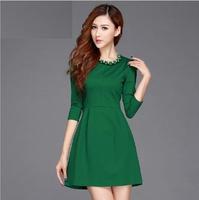 New 2014 fashion women's plus size dresses star style solid color slim one-piece dress autumn winter dress + necklace