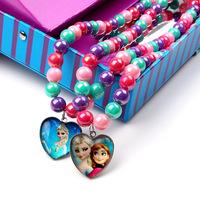 Momo - Frozen Neckalce, Handmand Glass beads peach heart pendant necklaces for children Girl, 24pcs/lot Free SHIPPING