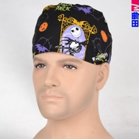 medical scrub cap for SHORT HAIR MEN AND WOMEN  black with pumpkins in hallowmas