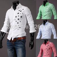 Fashion 2014 mens casual shirt stars print mens dress shirts camisa social male shirt slim fit camisa for men