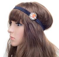 2014 new Wholesale fashion handmade flower pearl beads sewing elastic headband hair ties bangle hair accessories