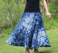 2014 new fashion big women pattern print skirt linen ladies long elegant casual comfortable designer dance skirts 9 colors
