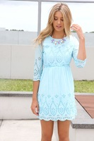 Hot Sale 2014 Summer  Pure Color Tunic Chic Party Dress Casual Mini dress Hollow out Half SleeveWomen Dress Free Shipping