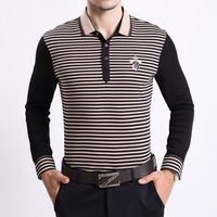 [ New Order ] fast fit casual men's long-sleeved t-shirt sleeve striped knit men's T shirt lapel Men
