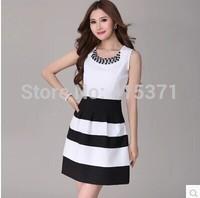 2014 New Summer Fashion Beading Diamond Black And White Stripe Women's Chiffon Slim One-Piece Sleeveless Mini Dress In Summer