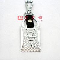 Free shipping new high-grade silver keychain / Opel car logo key chain / leather car key ring Christmas