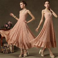 2014 summer women summer dress Luxury full lace suspenders big swing dress flounced dresses party evening dress vestidos