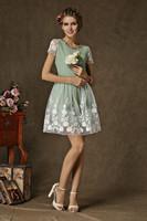 fashion 2014 retro Summer new ladies woman diamond embroidered organza dress fairy dresses flower white green casual dress