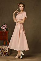 2014 women summer dress new high-grade retro dress cape dresses vestidos pink party evening dress